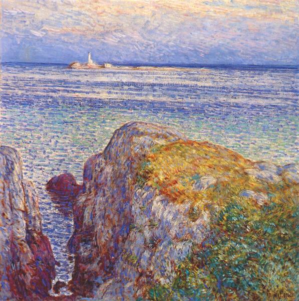 White island light (isles of shoals at sundown) - Childe Hassam