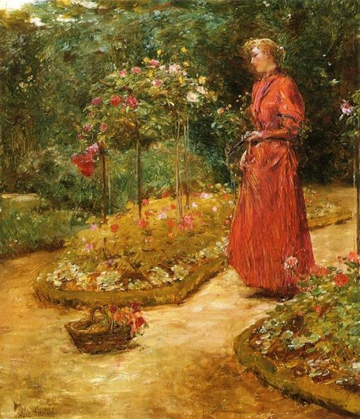 Woman Cutting Roses in a Garden, 1888 - 1889 - Childe Hassam