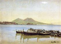 The Bay of Naples with Vesuvius in the Background - Christen Kobke