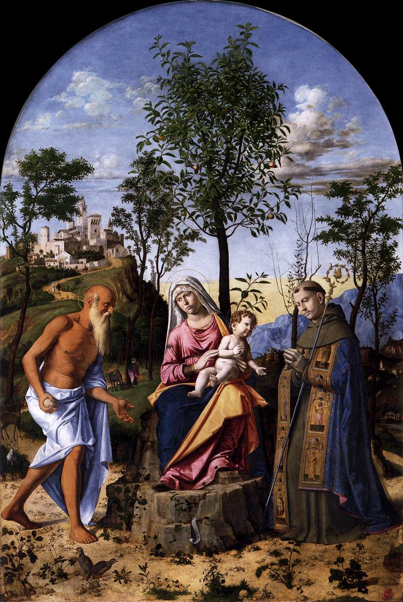 Madonna of the Orange Tree with St. Ludovic of Toulouse and St. Jerome, 1495