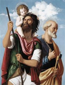 St. Christopher with the Infant Christ and St. Peter - Cima da Conegliano