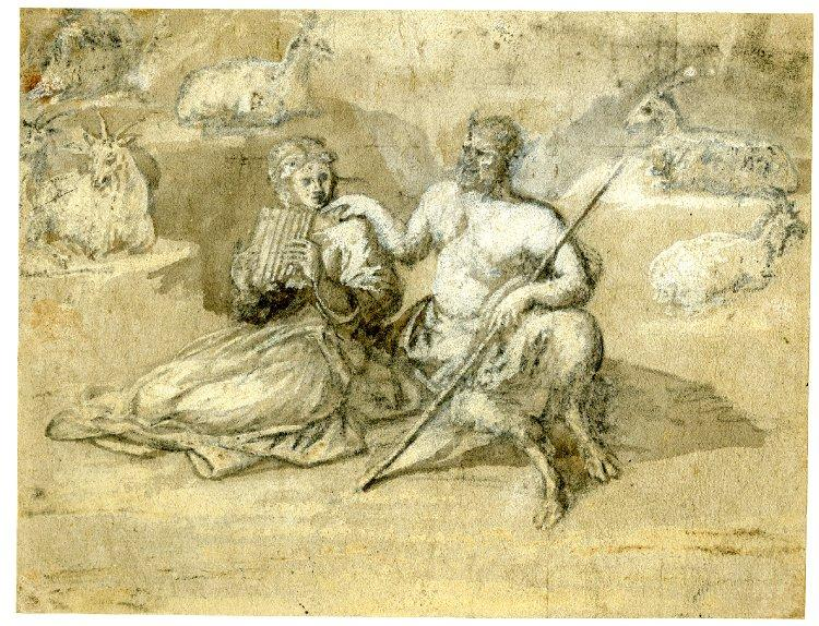 Drawing of a satyr, a girl and goats, 1650 - Claude Lorrain