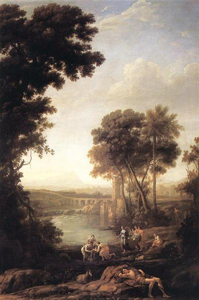 Landscape with the finding of Moses, c.1638 - Claude Lorrain