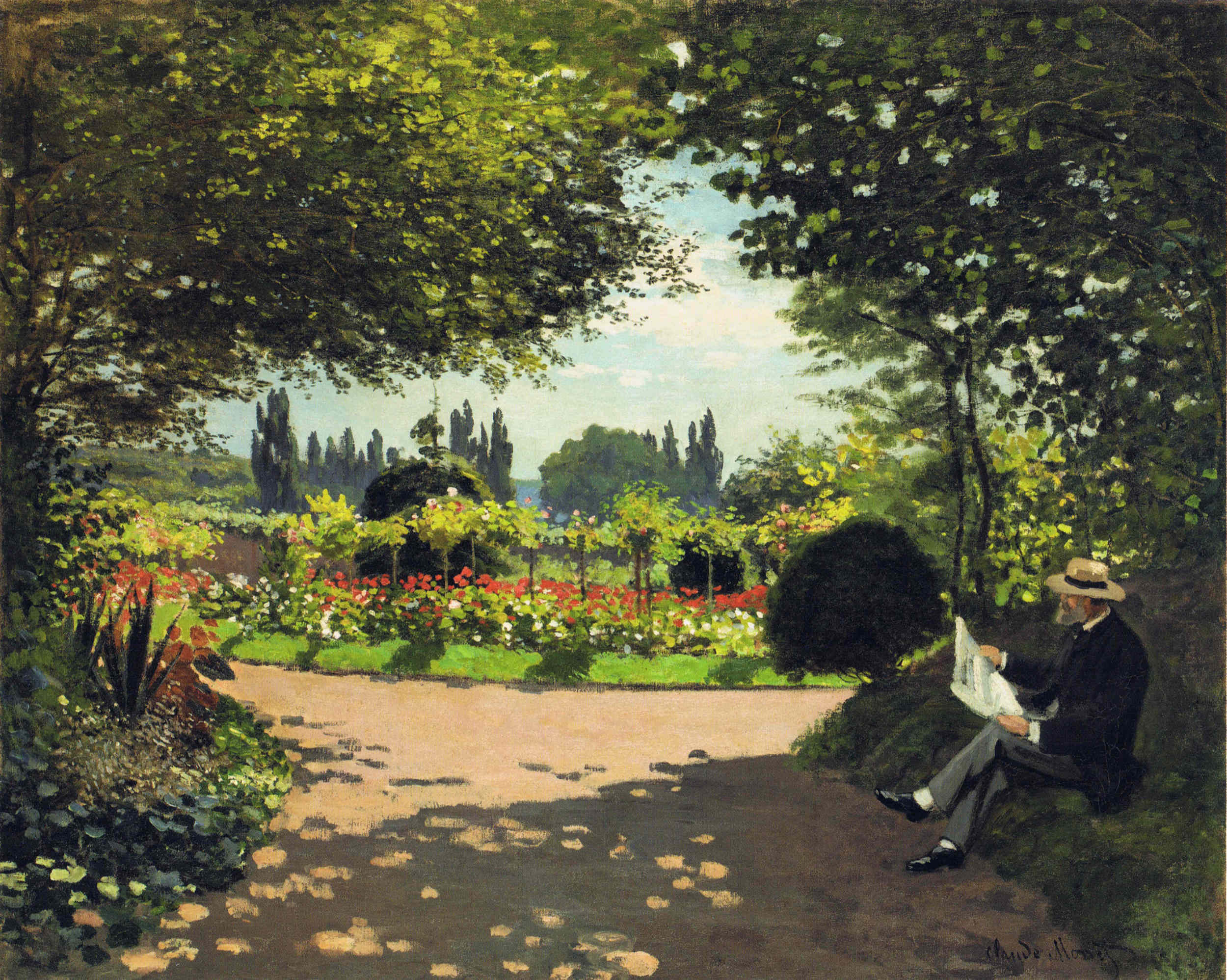Adolphe Monet Reading In The Garden 1866 Claude Monet