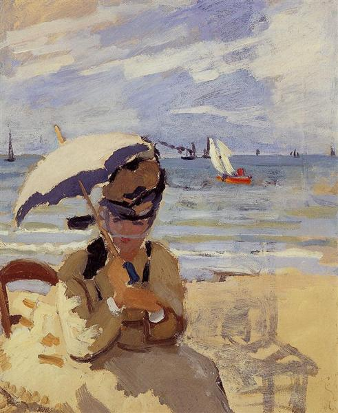 Camille Sitting on the Beach at Trouville, 1870 - 1871 - Claude Monet