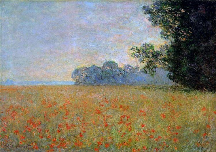 Oat and Poppy Field - Monet Claude