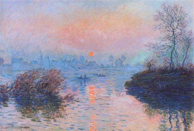 Sunset on the Seine at Lavacourt, Winter Effect - Monet Claude