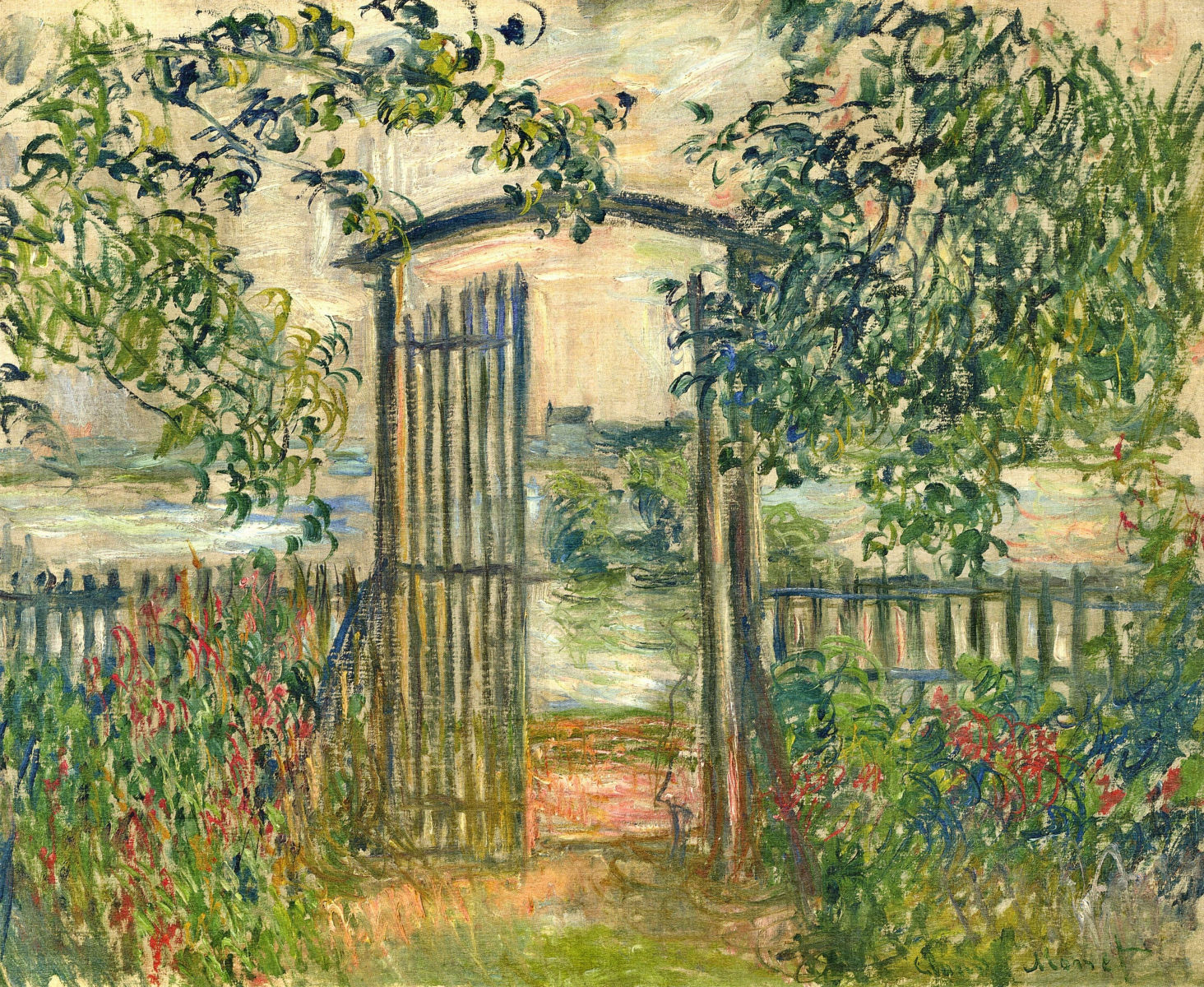 The Garden Gate at Vetheuil 1881 Claude Monet WikiArtorg