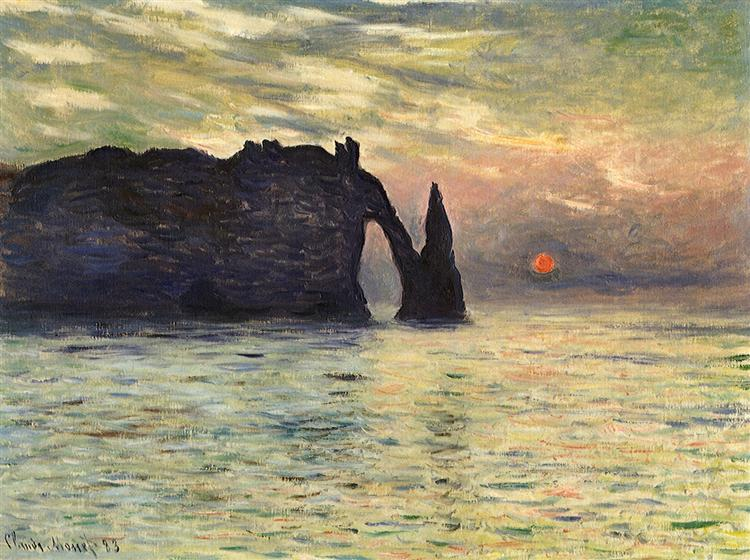 The Manneport, Cliff at Etretat, Sunset, 1883 - Claude Monet