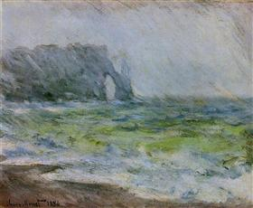 Claude Monet - The Manneport, Etretat In The Rain