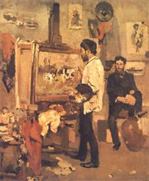 Columbano Bordalo Pinheiro in Atelier - Columbano Bordalo Pinheiro