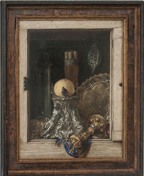 Silverware in an Open Cabinet - Cornelis Gijsbrechts