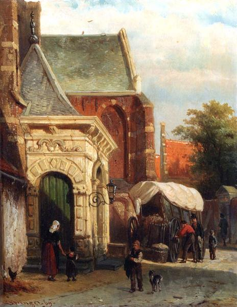 A View Of The South Entrance Of The St. Pancras Church, Enkhuizen, 1869 - Cornelis Springer