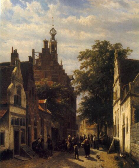 Figures in a Street in Delft, 1853 - Cornelis Springer