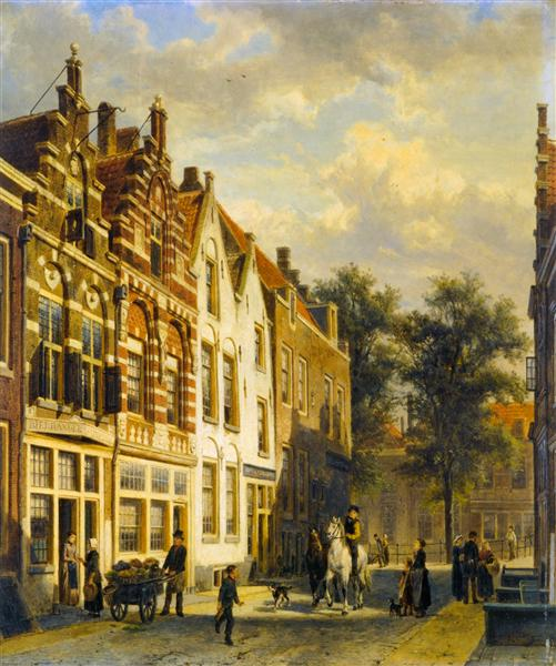 Figures in the Sunlit Streets of a Dutch Town, 1889 - Cornelius Springer