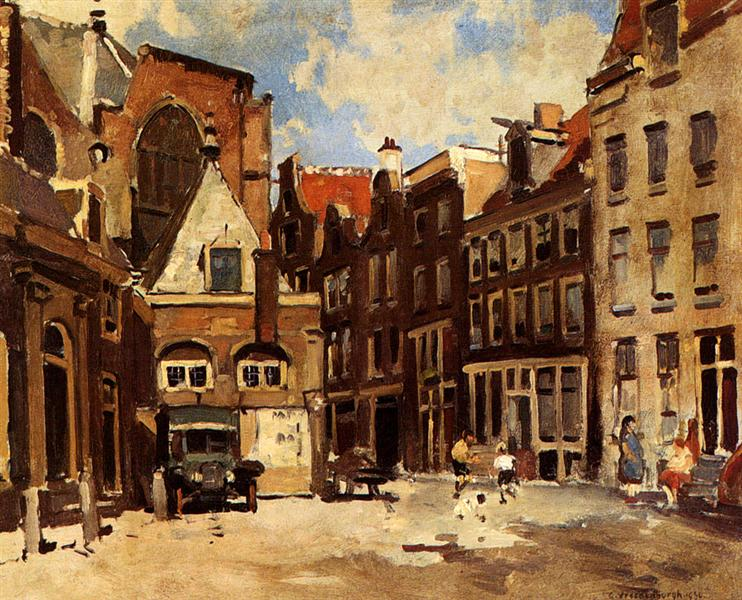 A Townscene With Children At Play, Haarlem, 1930 - Корнелис Вреденбург