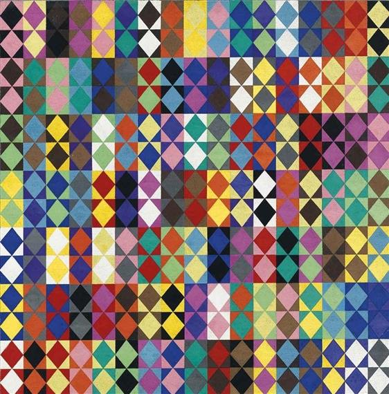 238 combinazioni cromatiche con 16 colori moltiplicati fra loro, 1969 - Dadamaino