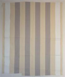 Peinture acrylique blanche sur tissu rayé blanc et gris clair - Даниель Бюрен