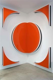 Photo-souvenir: 1 carré = 1 cercle + 4 triangles, Hauts-reliefs situés H, travail situé - Даниель Бюрен