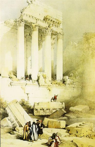 Baalbek. Remains of the Western Portico of the Temple of Jupiter - David Roberts