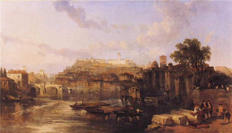 Rome, View on the Tiber Looking Towards Mounts Palatine and Aventine, 1863 - David Roberts