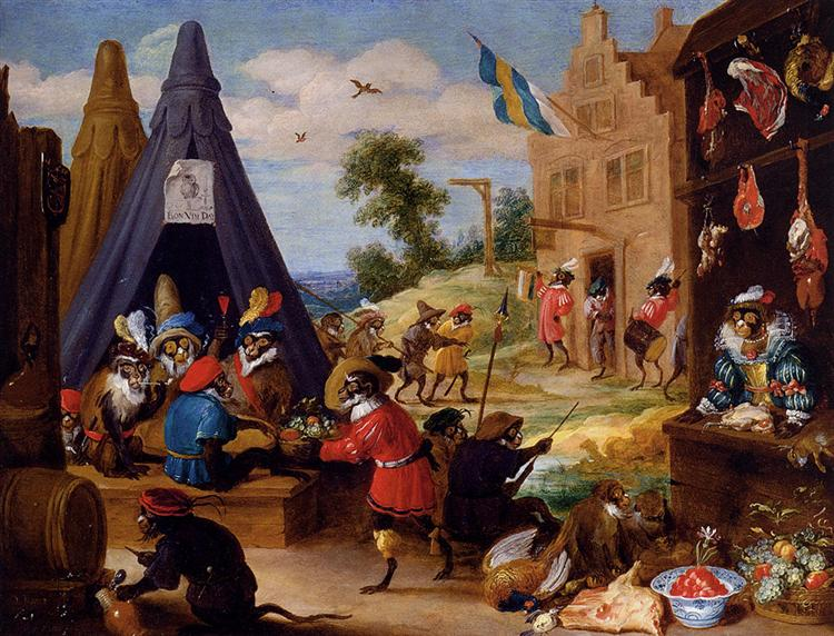 A Monkey Encampment - David Teniers the Younger