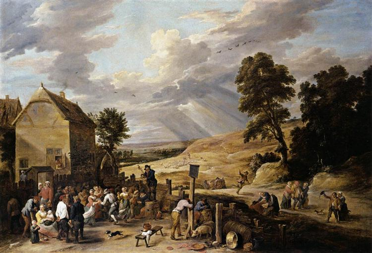 Peasants Dancing outside an Inn, c.1665 - David Teniers, o Jovem