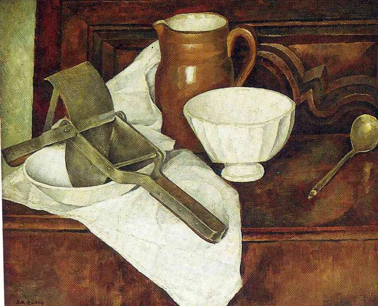 Still Life with Ricer also known as Still Life with Garlic Press, 1918 - Diego Rivera