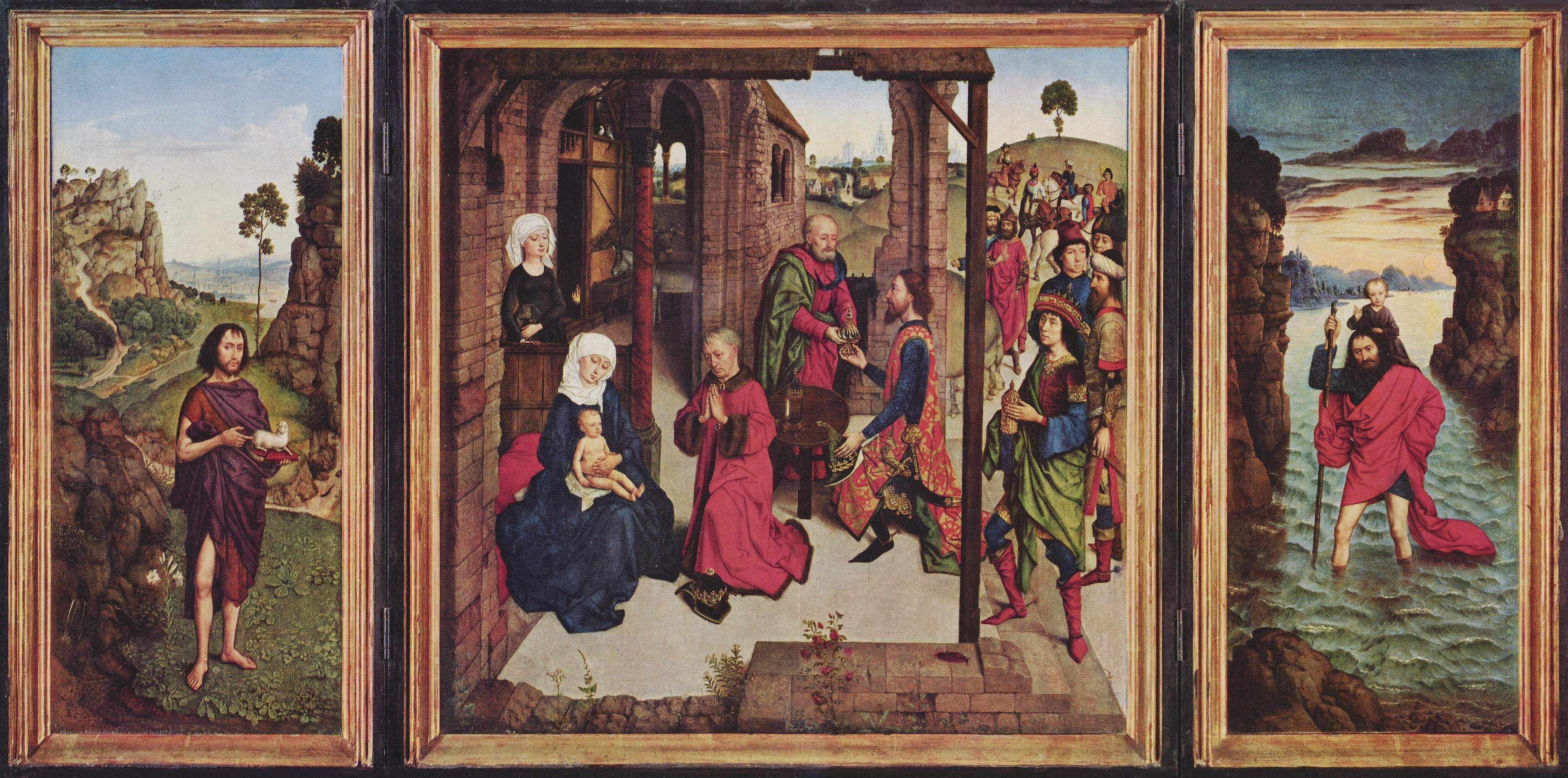 Triptych The Pearl of Brabant. Left wing: St. John the Baptist, middle panel: Adoration of the Magi, right wing: St. Christopher