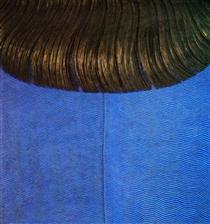 Capelli rossi su abito blu - Domenico Gnoli