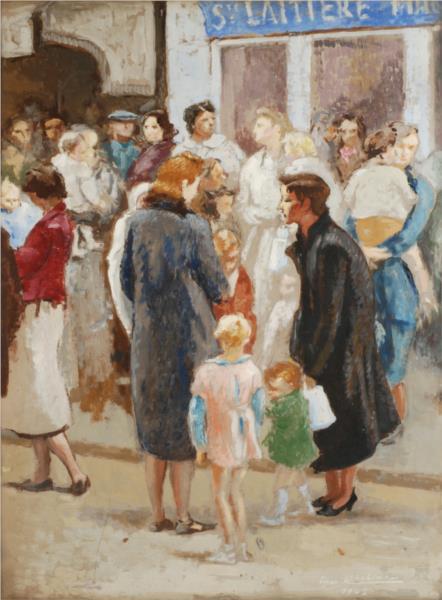 Paris Under Occupation, the Line for Milk, 1942 - Edgar Chahine