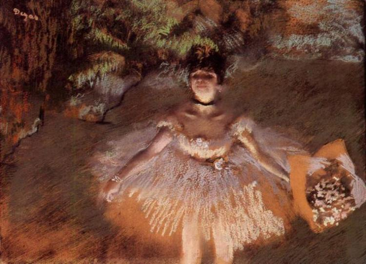 Dancer on Stage with a Bouquet, c.1876 - Edgar Degas