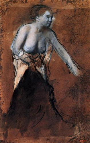 Стоящая женщина с обнаженным торсом - Эдгар Дега