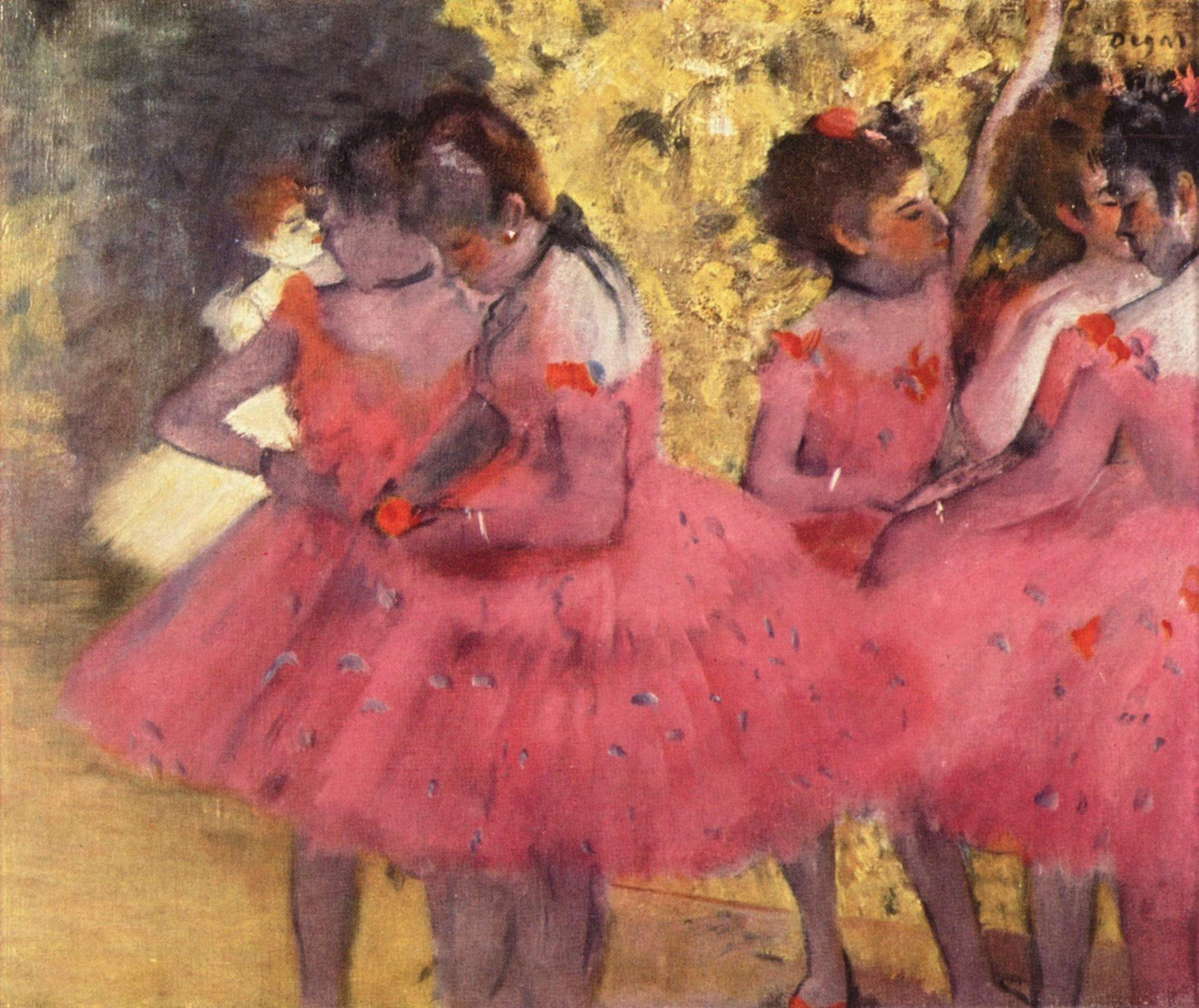 the pink dancers before the ballet 1884 edgar degas. Black Bedroom Furniture Sets. Home Design Ideas