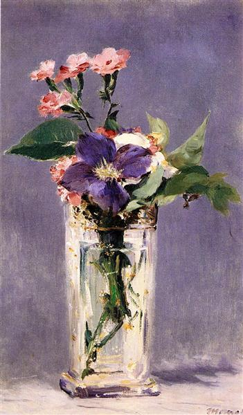 Pinks and Clematis in a Crystal Vase, c.1882 - Edouard Manet