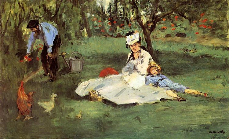 The Monet family in their garden at Argenteuil - Manet Edouard