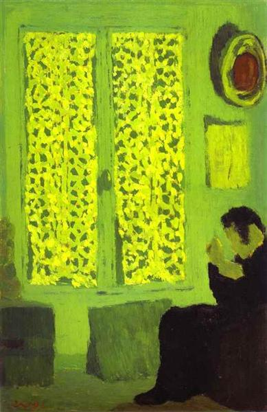The Green Interior or Figure in front of a Window with Drawn - Edouard Vuillard