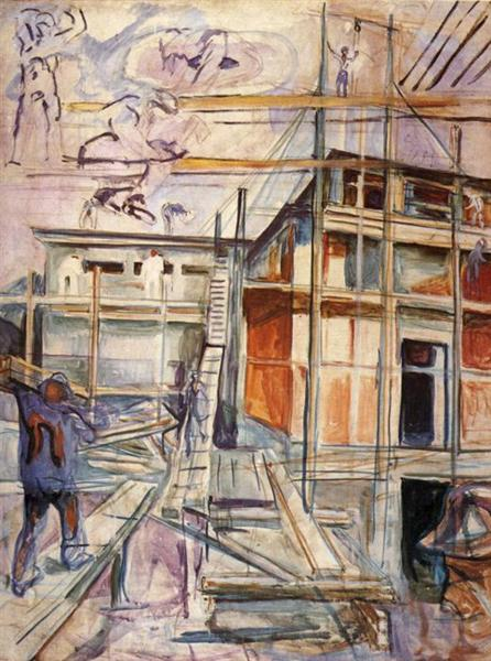 Building the Winter Studio. Ekely, 1929 - Edvard Munch