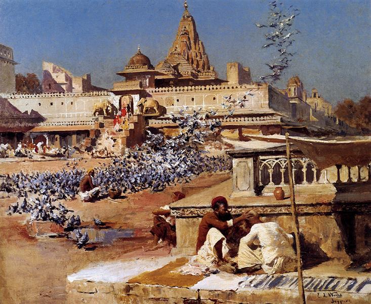 Feeding The Sacred Pigeons, Jaipur - Edwin Lord Weeks