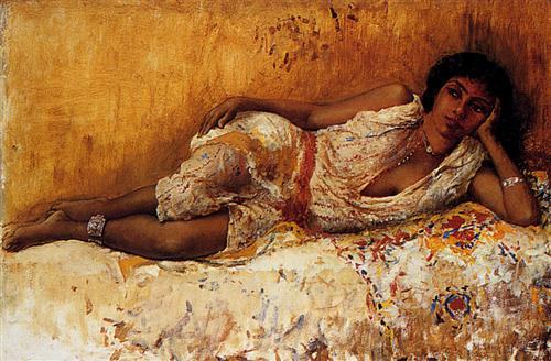 Moorish Girl Lying On A Couch Rabat, Morocco - Edwin Lord Weeks