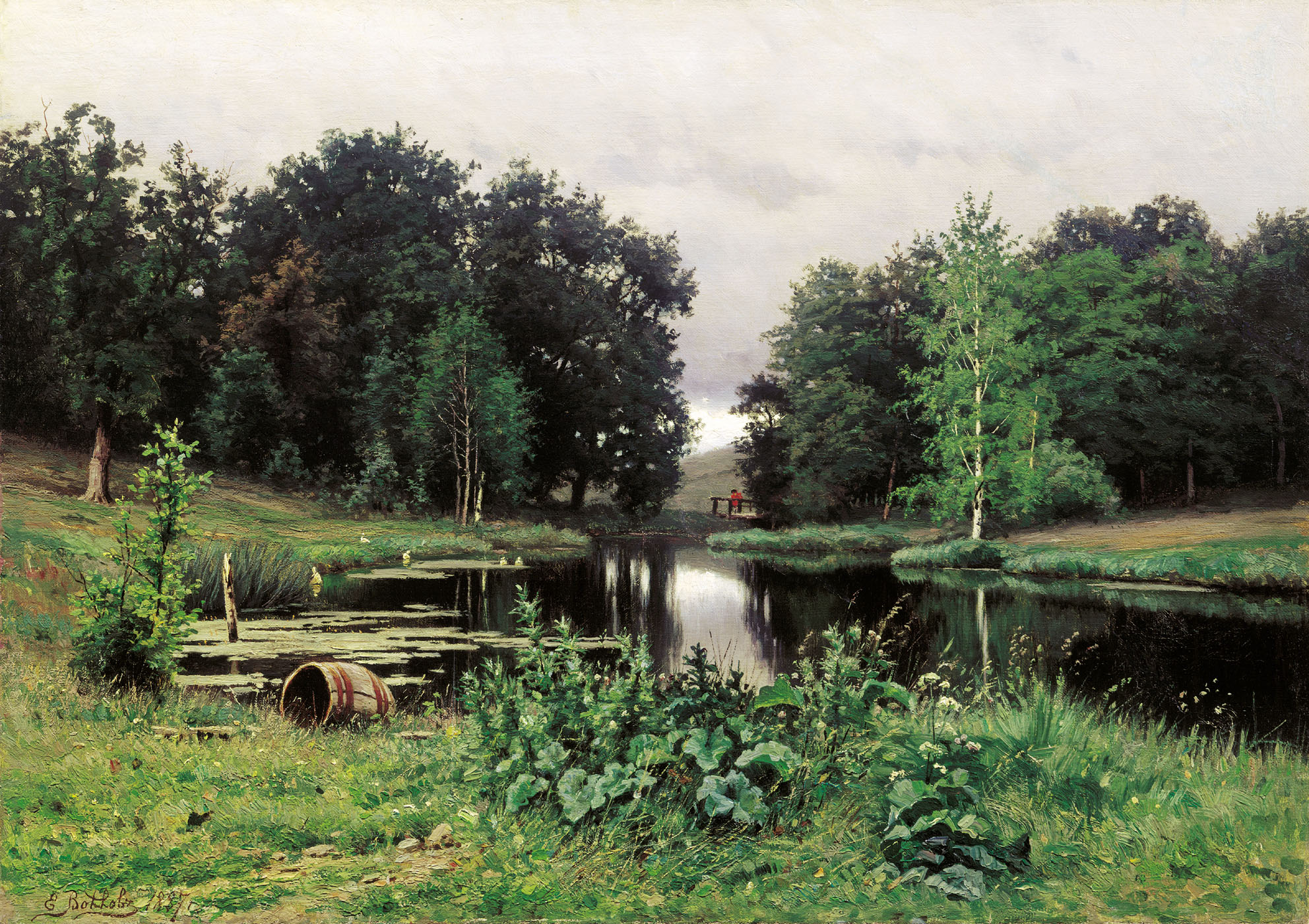 Landscape with a pond 1887 efim volkov for Pond landscape