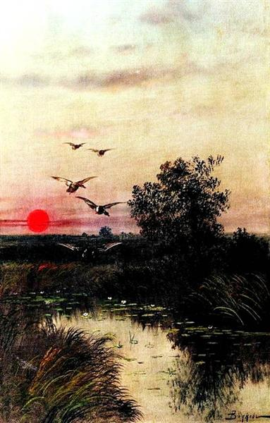 Sunset over the Lake - Efim Volkov