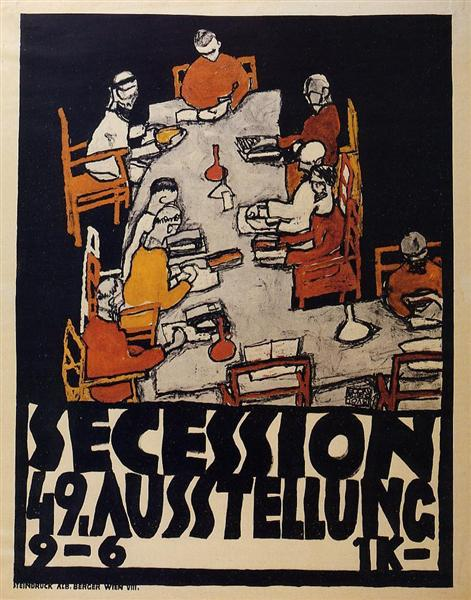 Poster for the Vienna Secession, 49th Exhibition, Die Freunde, 1918 - Egon Schiele