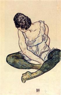 Seated Woman with Green Stockings - Эгон Шиле