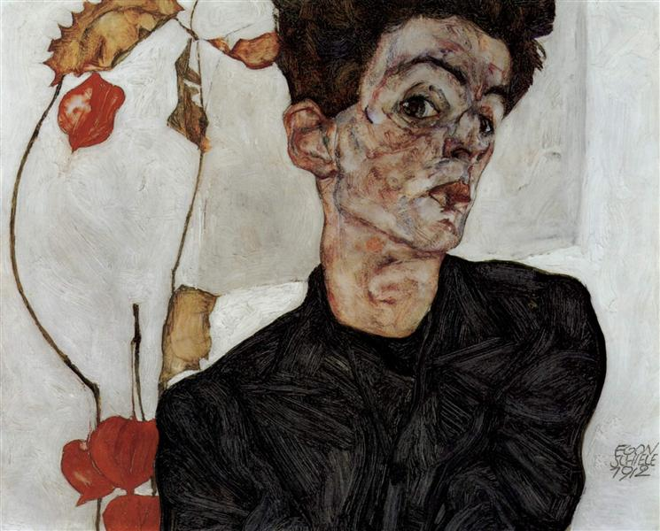 Self-Portrait with Chinese lantern fruits, 1912 - Egon Schiele
