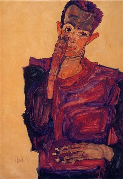 Self Portrait with Hand to Cheek, 1910 - Egon Schiele