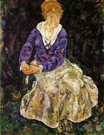 The Artist's wife seated - Эгон Шиле