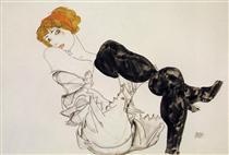 Woman in Black Stockings - Эгон Шиле