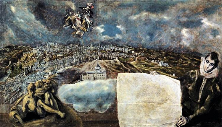 View and plan of Toledo, c.1610 - El Greco