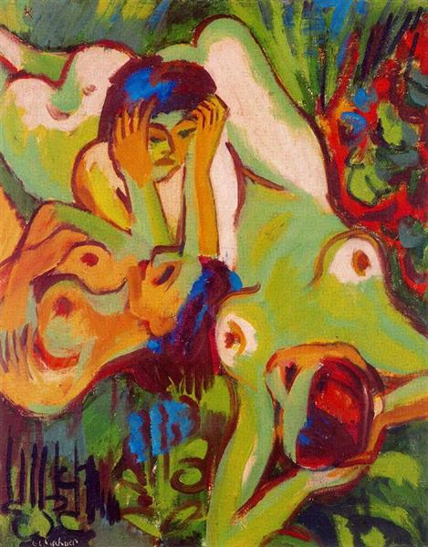 Bathers on the Lawn - Ernst Ludwig Kirchner